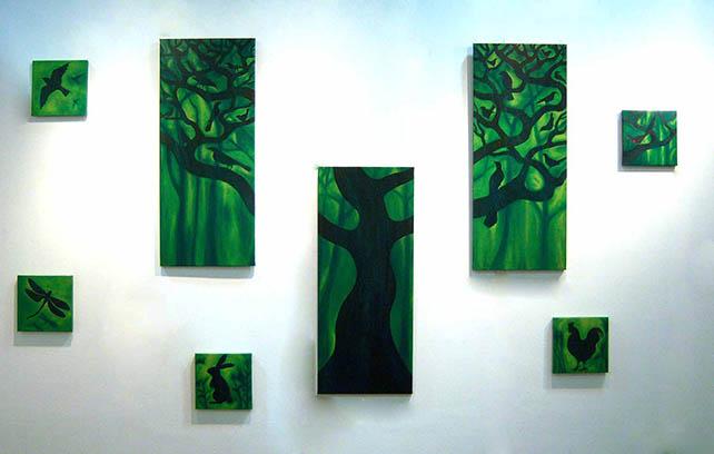 Hidden Forest muliti panel artwork oil on canvas