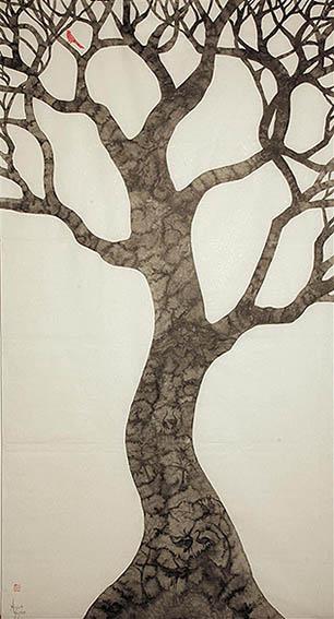 Wonderment Red Bird Tree by Anna Glynn