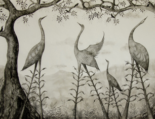 Nature Entwined chinese paper, ink and pencil by Anna Glynn