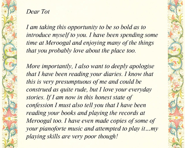 An excerpt from my first letter to Tot