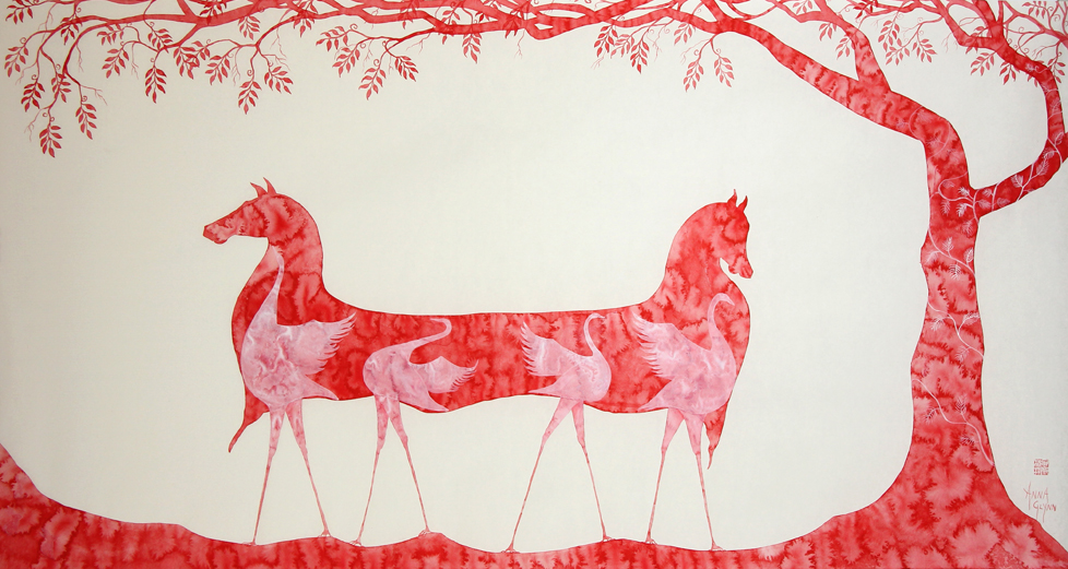 2014 Albany art Prize finalist Marriage in Red by Anna Glynn